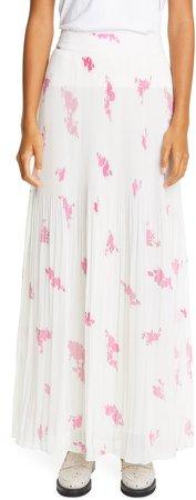 Rose Print Pleated Georgette Maxi Skirt