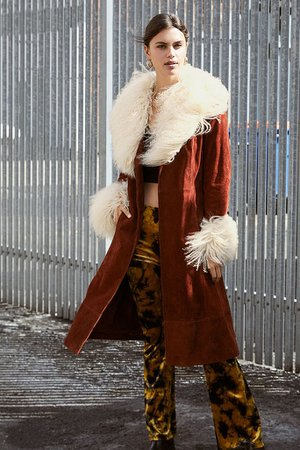 UO Penny Brown Suede & Shearling Coat | Urban Outfitters UK