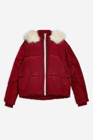 Burgundy Faux Fur Hooded Puffer Jacket | Topshop