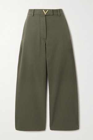 Cropped Cotton-twill Wide-leg Pants - Green