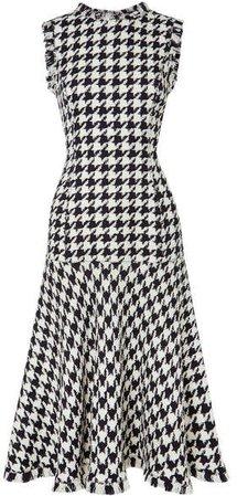 Fringed Houndstooth Wool-blend Tweed Dress - Black