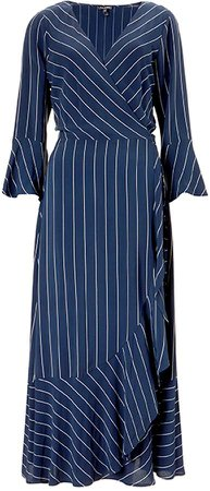 Harriet Wrap Dress In Blue & Slim White Stripe