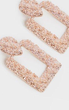 Rosegold Texured Square Door Knocker Earrings | PrettyLittleThing USA
