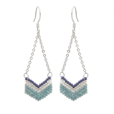 grey and blue earrings