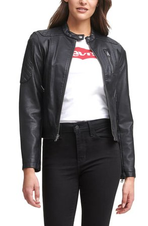 Levi's® Zip Front Water Repellent Faux Leather Moto Jacket | Nordstrom