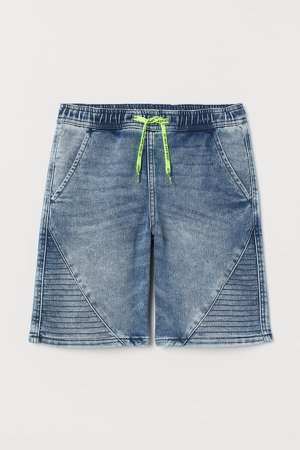 Pull-on Denim Shorts - Blue