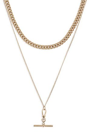 ALLSAINTS Bar Pendant Mixed Chain Layered Necklace | Nordstrom