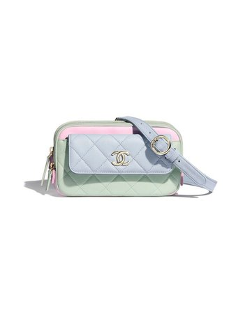 Pink, green, and blue pastel Chanel bag