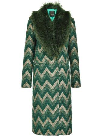 Pinko, Fur-Panelled Zigzag Coat