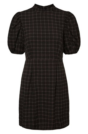 AWARE by VERO MODA Maddie Plaid Puff Sleeve Dress | Nordstrom
