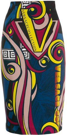 digital print pencil skirt