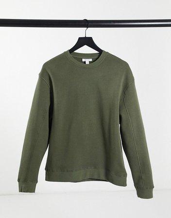 Topshop flatlock oversized sweatshirt in olive   ASOS