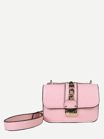 Studded Decor Flap Chain Bag