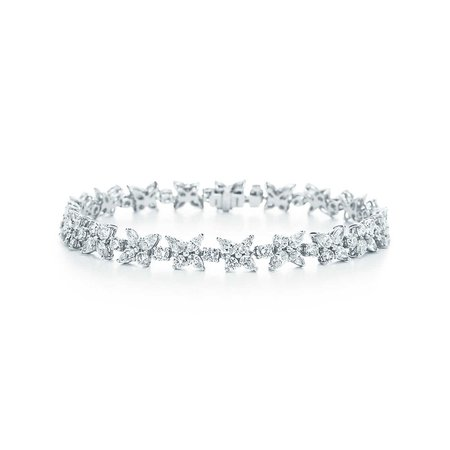 Tiffany Victoria® mixed cluster bracelet in platinum with diamonds. | Tiffany & Co.
