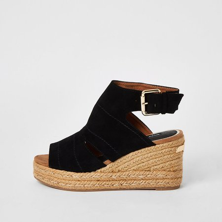 Black open toe wedge sandals | River Island