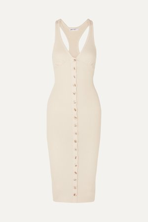 Cream Harper ribbed stretch-cotton jersey dress | The Line By K | NET-A-PORTER