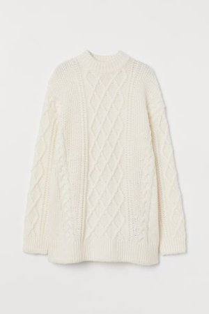 Wool-blend Cable-knit Sweater - Cream - Ladies | H&M US