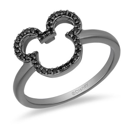 Mickey Mouse & Minnie Mouse 1/6 CT. T.W. Enhanced Black Diamond Ring in Sterling Silver with Black Rhodium - Size 7   Silver Rings   Rings   Zales