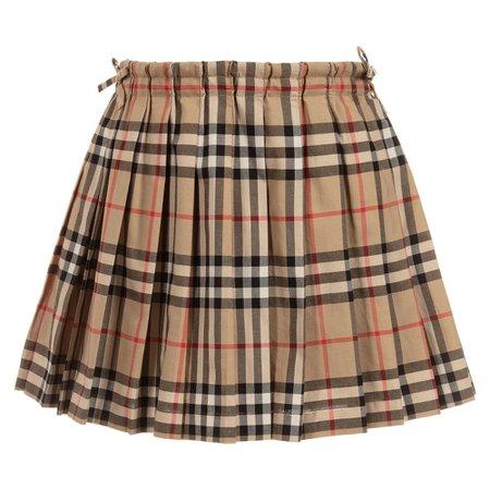 Burberry - Girls Beige Cotton Skirt | Childrensalon