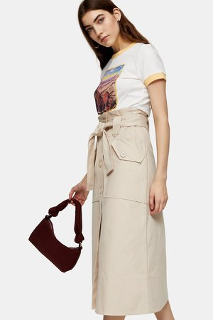 Stone Trench Belted Midi Skirt
