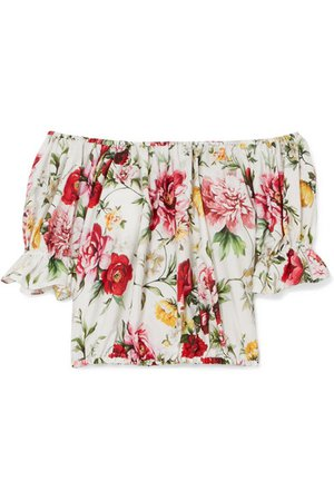 DOLCE & GABBANA Off-the-shoulder floral-print cotton blouse
