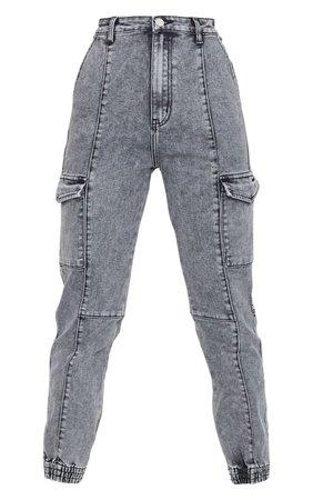 Grey Cargo Pocket Denim Jeans | Denim | PrettyLittleThing USA grey