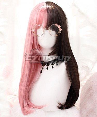Japan Harajuku Lolita Series Halloween Pink Brown Long Cosplay Wig-Only Wig