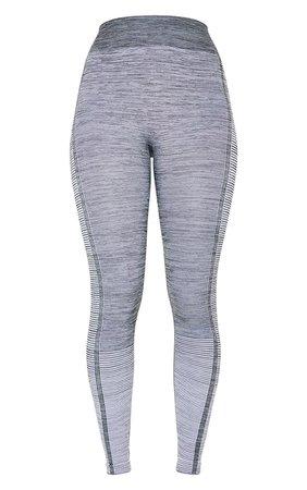 Grey Seamless Stripe Gym Leggings | PrettyLittleThing USA
