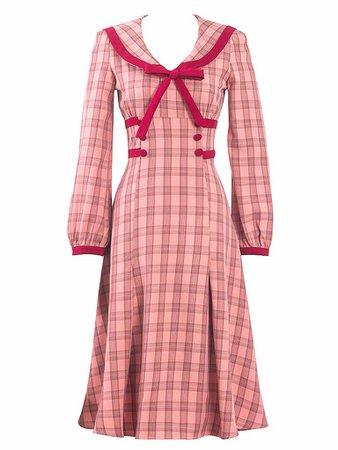 Pink Sailor Collar Long Sleeve Swing Dress – Jolly Vintage