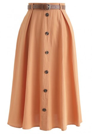 Buttoned Belted A-Line Midi Skirt in Orange - Skirt - BOTTOMS - Retro, Indie and Unique Fashion