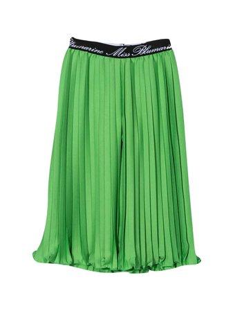 Miss Blumarine Green Pleated Skirt