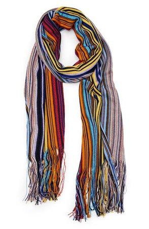 Missoni Metallic Stripe Wool Blend Scarf | Nordstrom