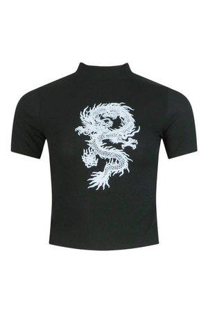 Dragon Print Ribbed High Neck Top | boohoo