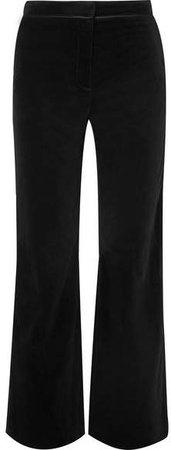Satin-trimmed Cotton-velvet Pants - Black