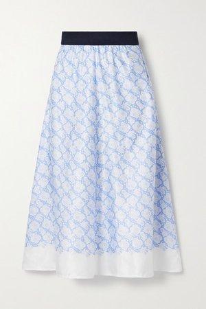 Biella Floral-print Satin Midi Skirt - Blue