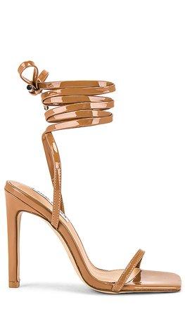 Steve Madden Uplift Strappy Heel in Camel Patent   REVOLVE