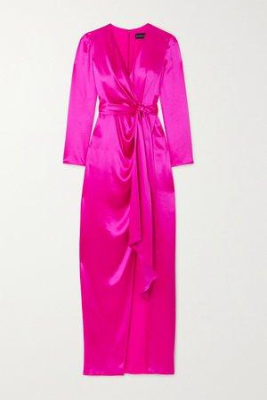 Pink Wrap-effect silk-satin gown | Brandon Maxwell | NET-A-PORTER