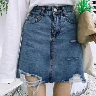 Dute Distressed Denim Mini Skirt | YesStyle
