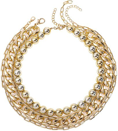 Sloong 3PCS Gold Plated Layered Chunky Paperclip Cuban Link Chain Necklace rough Choker Short for Women Men | Amazon.com