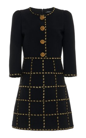 Button-Embellished Check-Detailed Crepe Mini Dress By Andrew Gn | Moda Operandi