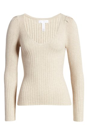 Leith Ribbed Puff Sleeve Sweater | Nordstrom