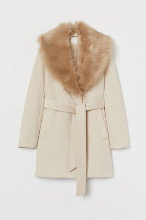 Coat with Faux Fur Collar - Light beige - Ladies   H&M US