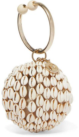 Lira Gold-tone, Bead And Shell Tote - White
