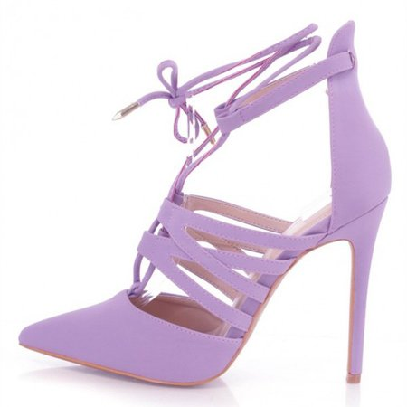 Lilac Lace up Heels Pointy Toe Stiletto Heel Pumps US Size 3-15 for Party, Date, Anniversary, Hanging out | FSJ