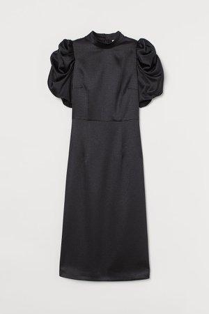 Puff-sleeved Satin Dress - Black