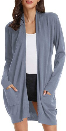GRACE KARIN Womens Light Weight Long Sleeve Open Front Long Cardigan(XL, Grey Blue) at Amazon Women's Clothing store
