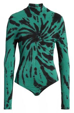 Ten Sixty Sherman Long Sleeve Tie Dye Mock Neck Bodysuit green