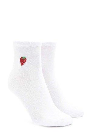 Strawberry Crew Socks | Forever 21