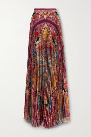 Pleated Floral-print Georgette Maxi Skirt - Purple