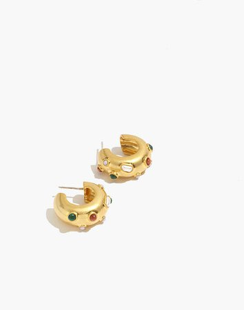 Stone Inlaid Chunky Small Hoop Earrings